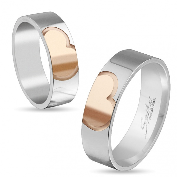 Bilde av Ring i stål, Rose Gold Heart